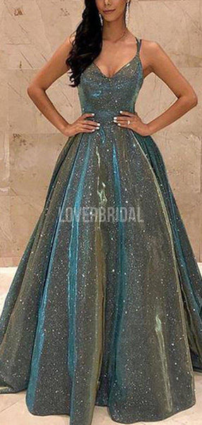 Spaghetti Straps Simple Green Long Evening Prom Dresses, Evening Party Prom Dresses, 12246