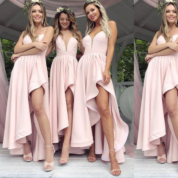 Spahgetti Straps Blush Pink Cheap Short Bridesmaid Dresses Online, WG331
