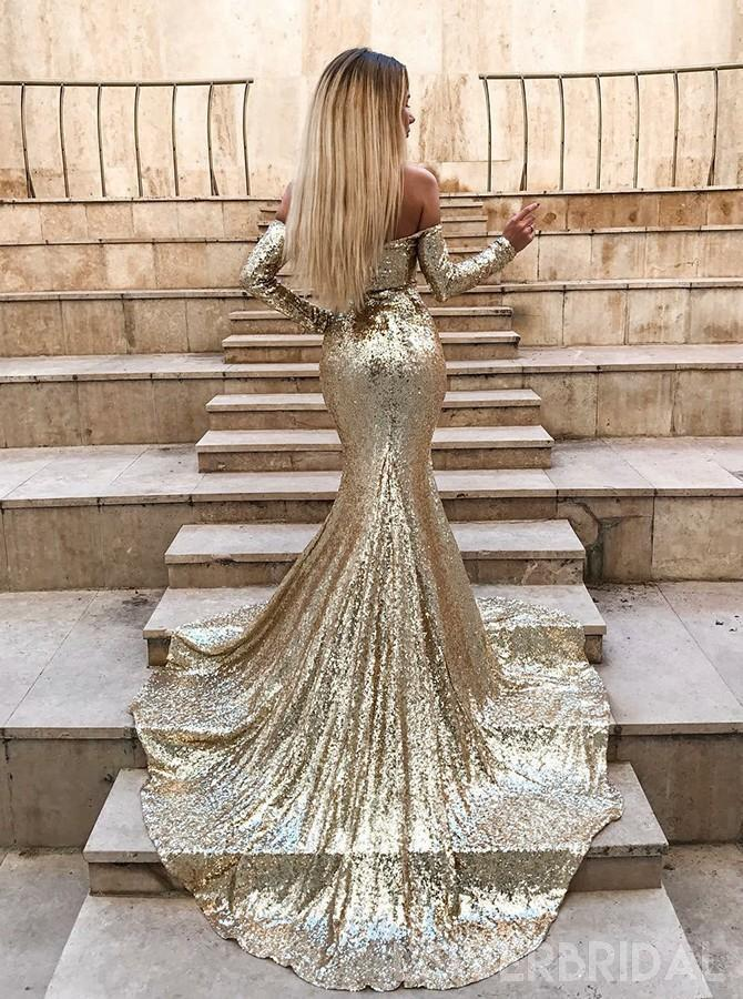 Sparkly Gold Sequin Long Sleeves Mermaid Evening Prom Dresses, Cheap Custom Sweet 16 Dresses, 18539
