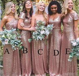Sparkly Mismatched Sequin Long Bridesmaid Dresses, Cheap Rose Gold Custom Long Bridesmaid Dresses, Affordable Bridesmaid Gowns, BD102