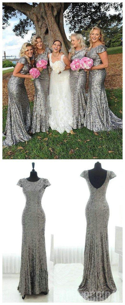 Sparkly Popular Cheap Short Sleeve Bling Silver Sequin Sexy Mermaid Long Bridesmaid dresses, WG46
