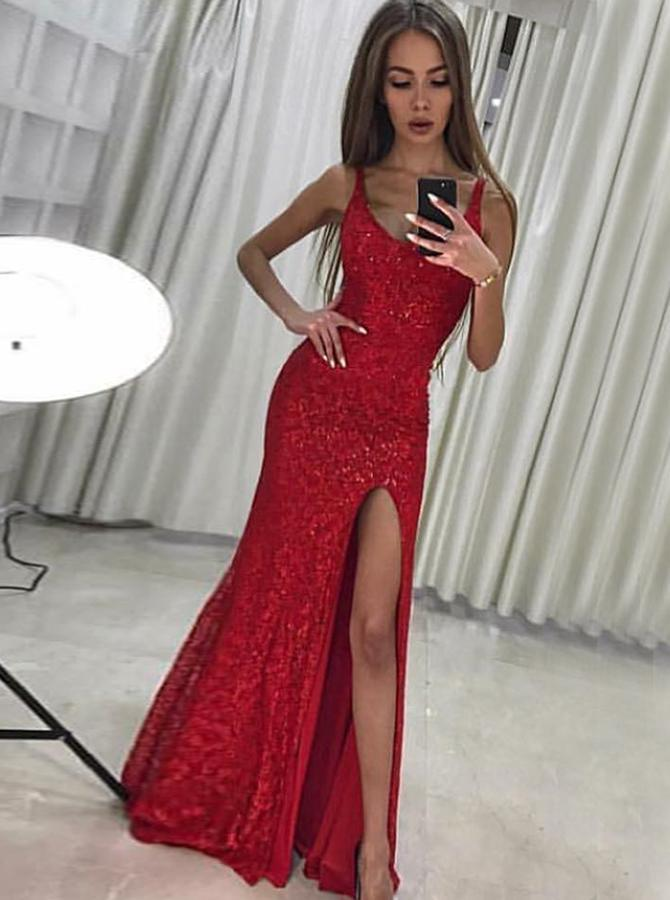 Sparkly Red Side Slit Lace Mermaid Long Evening Prom Dresses, Cheap Sweet 16 Dresses, 18340