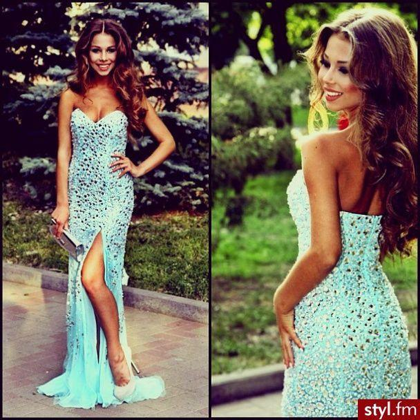 Sparkly Side Split Sweet Heart Blue Sexy Mermaid Long Evening Prom Dress, WG206