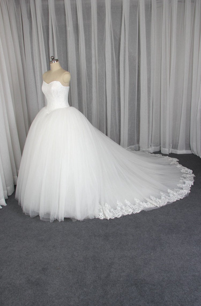 Strapless A line Tulle Wedding Dresses,  2017 Lace Custom Wedding Gowns, Affordable Ball Gown Bridal Dresses, 18004