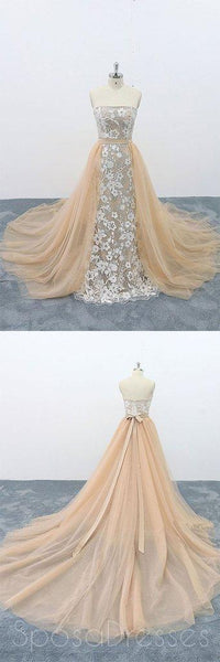 Strapless Champagne Lace Cheap Long Evening Prom Dresses, Evening Party Prom Dresses, 18625