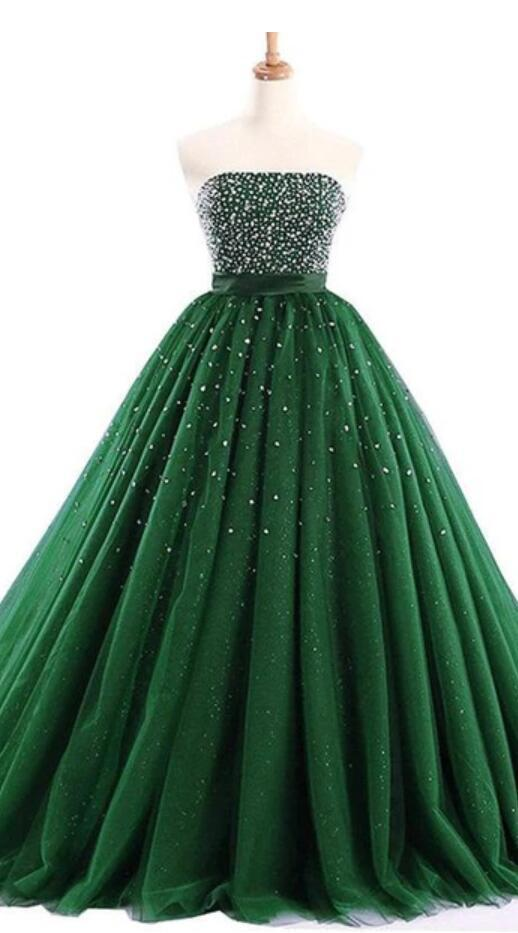 Strapless Emerald Green Tulle Beaded A-line Cheap Evening Prom Dresses, Sweet 16 Dresses, 17494
