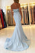 Strapless Light Blue Sweetheart Mermaid Long Custom Evening Prom Dresses, 17455