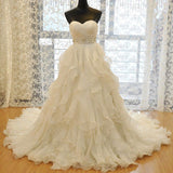 Strapless Organza A-line Ruffle Custom Wedding Dresses Online, WD358