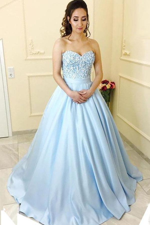 Strapless Sweetheart A line Light Blue Satin Long Evening Prom Dresses, 17462