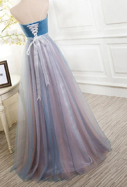Strapless Sweetheart A line Tulle Long Prom Dress, WG562