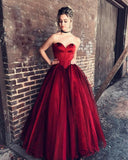 Strapless Sweetheart Dark Red Ball Gown Floor Long Custom Evening Prom Dresses, 17422