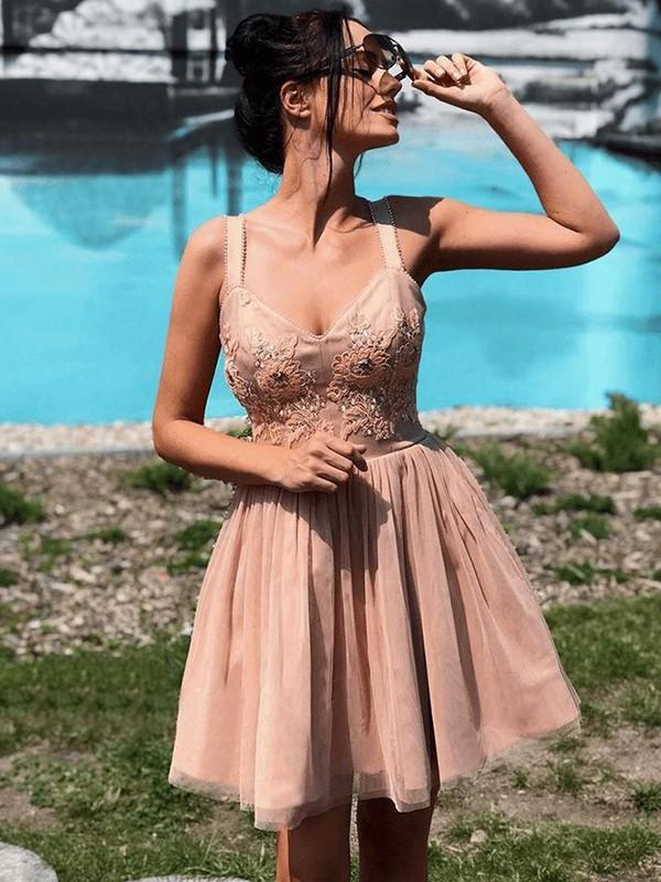 Straps Dusty Champagne Lace Beaded Tulle Cheap Homecoming Dresses Online, CM715