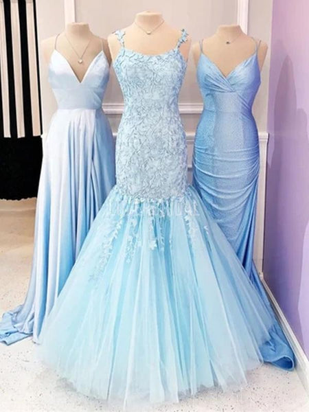Straps Lace Mermaid Long Evening Prom Dresses, Evening Party Prom Dresses, 12278