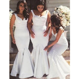 Straps Off White Mermaid Long Bridesmaid Dresses Online, Cheap Bridesmaids Dresses, WG709