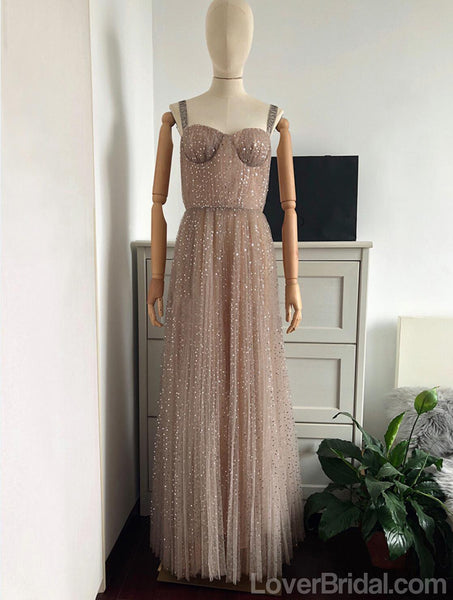 Straps Sparkly Gold A-line Long Evening Prom Dresses, Cheap Custom Sweet 16 Dresses, 18569