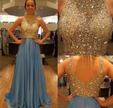 Stunning Golden Sparkle A Line Blue Chiffon Morden Evening Long Prom Dresses, WG226