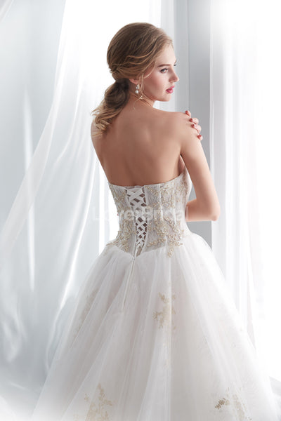 Sweetheart A-line Gold Lace Beaded Cheap Wedding Dresses Online, Cheap Bridal Dresses, WD571
