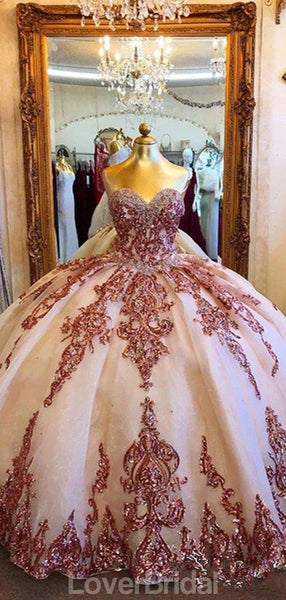 Sweetheart Applique Ball Gown Long Evening Prom Dresses, Evening Party Prom Dresses, 12153