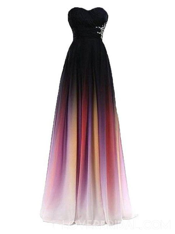 Sweetheart Beaded Chiffon Ombre Long Evening Prom Dresses, Custom heap Sweet 16 Dresses, 18403