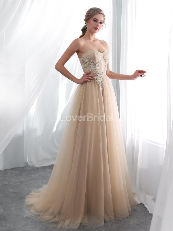 Sweetheart Champagne Applique Evening Prom Dresses, Evening Party Prom Dresses, 12026