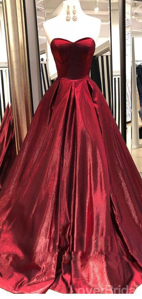 Sweetheart Dark Red A-line Cheap Long Evening Prom Dresses, Evening Party Prom Dresses, 18621