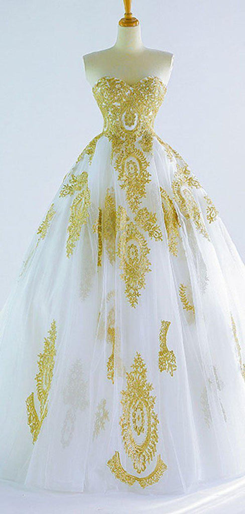 Sweetheart Gold Lace Applique A-line Wedding Dresses, Cheap Wedding Gown, WD710
