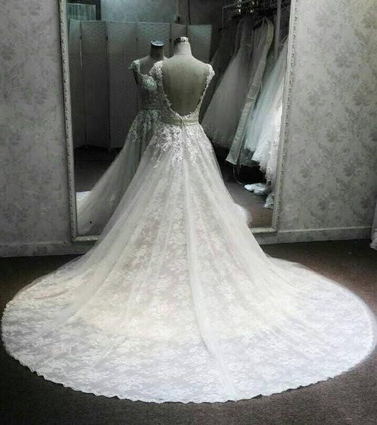 Sweetheart Gorgeous Open Back Applique Long Wedding Party Dresses, WG601