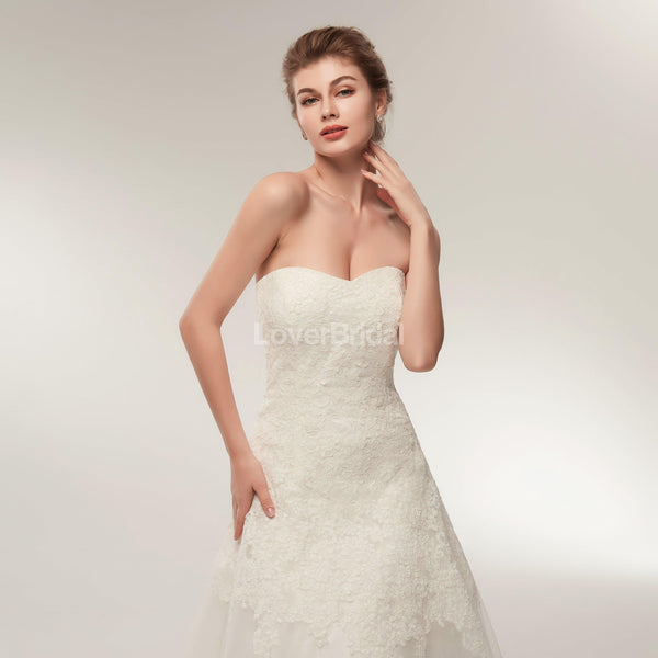 Sweetheart Lace A-line Cheap Wedding Dresses Online, Unique Bridal Dresses, WD566