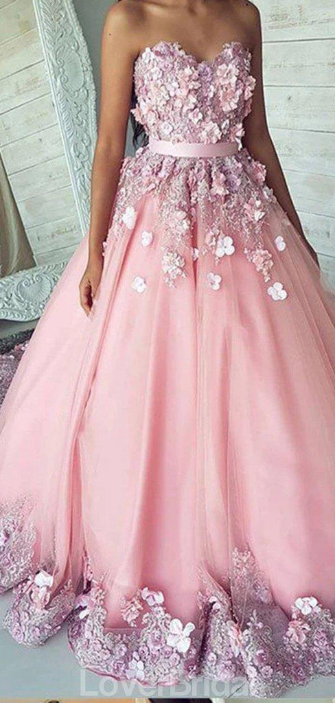 Sweetheart Lace Beaded Flower A-line Long Evening Prom Dresses, Evening Party Prom Dresses, 12185