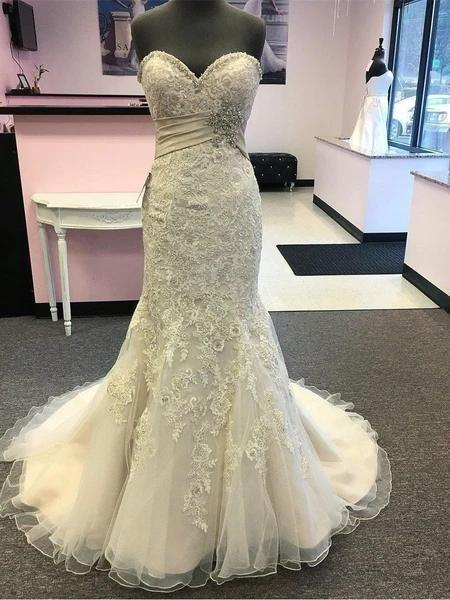 Sweetheart Lace Beaded Mermaid Cheap Wedding Dresses Online, Cheap Unique Bridal Dresses, WD592