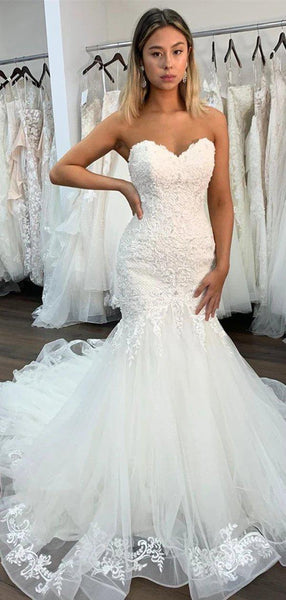 Sweetheart Lace Mermaid Wedding Dresses Online, Cheap Bridal Dresses, WD632