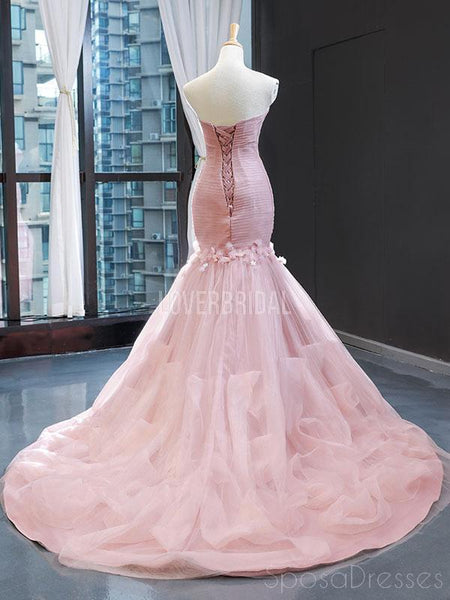 Sweetheart Mermaid Peach Ruffles Flower Evening Prom Dresses, Evening Party Prom Dresses, 12256