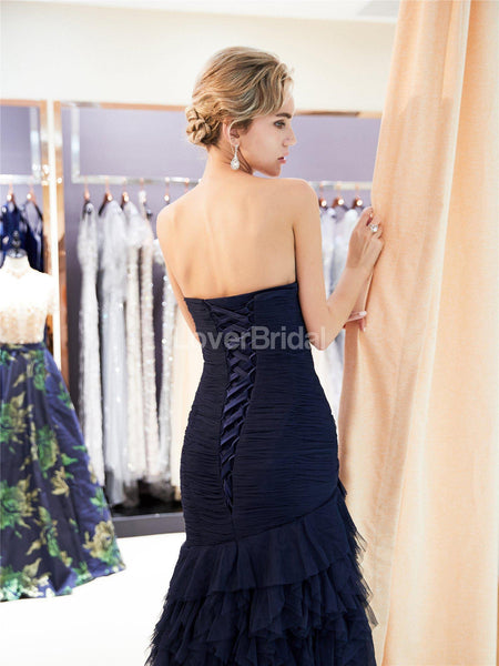 Sweetheart Navy Ruffle Mermaid Evening Prom Dresses, Evening Party Prom Dresses, 12027