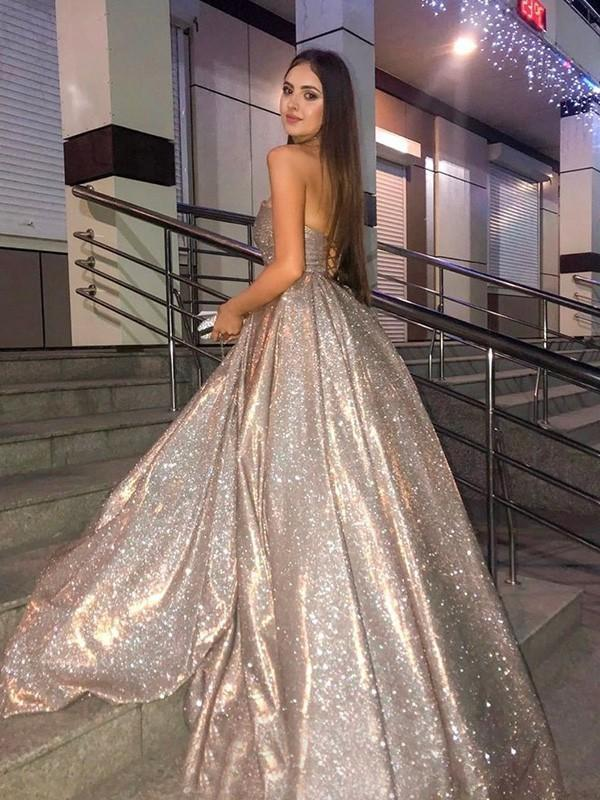 Sweetheart Neck Gold Sequin A-line Cheap Long Evening Prom Dresses, Evening Party Prom Dresses, 12350