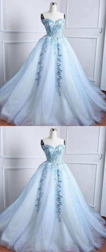 Sweetheart Pale Blue Lace Beaded Cheap Long Evening Prom Dresses, Cheap Sweet 16 Dresses, 18373