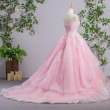 Sweetheart Pink A-line Lace Cheap Evening Prom Dresses, Sweet 16 Dresses, Quinceanera Dresses, 17488
