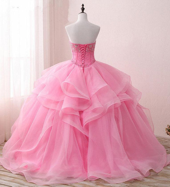 Sweetheart Pink Beaded Cheap Evening Prom Dresses, Sweet 16 Dresses, 17489