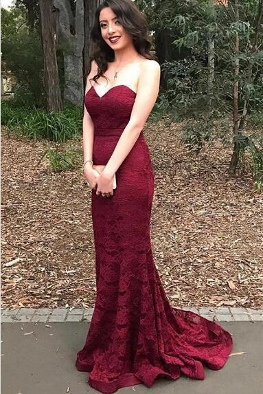 Sweetheart Red Lace Mermaid Evening Prom Dresses, 2017 Long Party Prom Dress, Custom Long Prom Dresses, Cheap Formal Prom Dresses, 17087