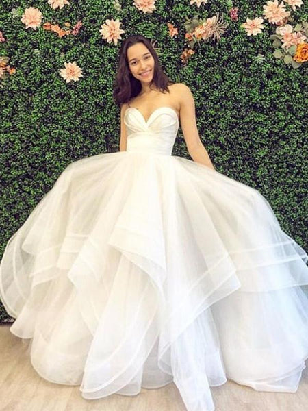 Sweetheart Ruffle Ball Gown Wedding Dresses Online, Cheap Bridal Dresses, WD654