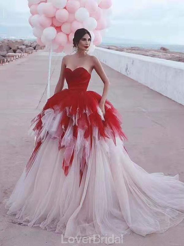 Sweetheart Ruffle Tulle Ball Gown Long Evening Prom Dresses, Evening Party Prom Dresses, 12205