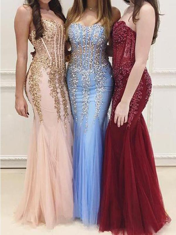 Sweetheart See Through Lace Mermaid Long Evening Prom Dresses, 17483