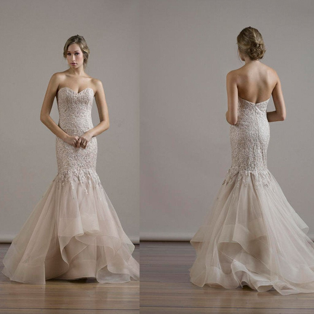 Sweetheart Sexy Mermaid Lace Backless Wedding Party Dresses, Organza Bridal Gown, WD0087