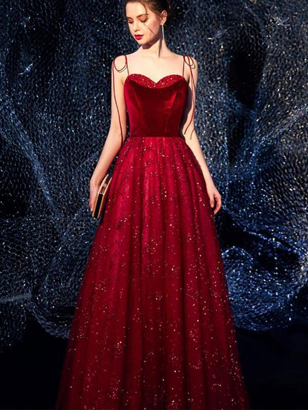 Sweetheart Spaghetti Straps Red Sparkly Long Cheap Evening Prom Dresses, Evening Party Prom Dresses, 12325