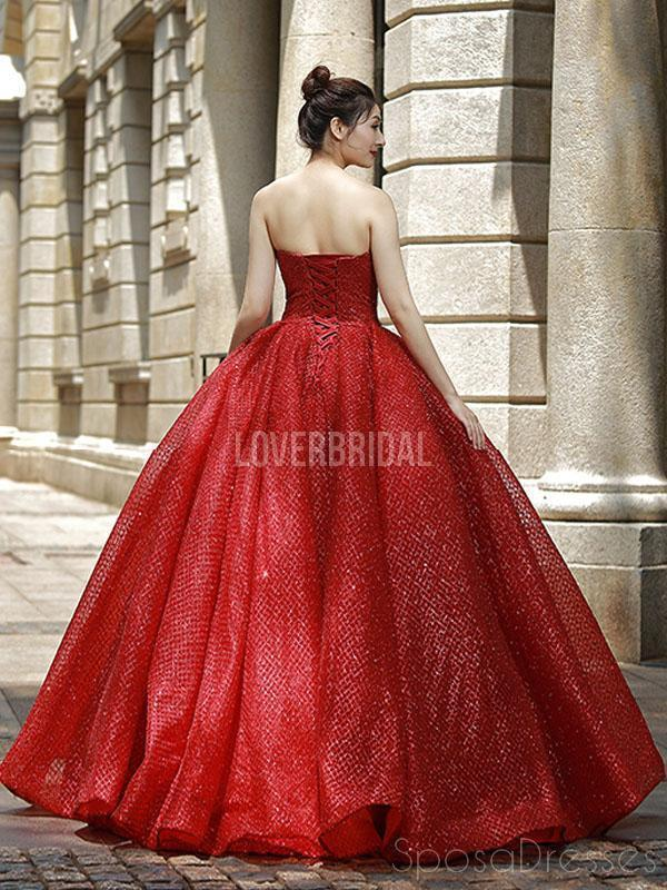 Sweetheart Sparkly Red Ball Gown Evening Prom Dresses, Evening Party Prom Dresses, 12263