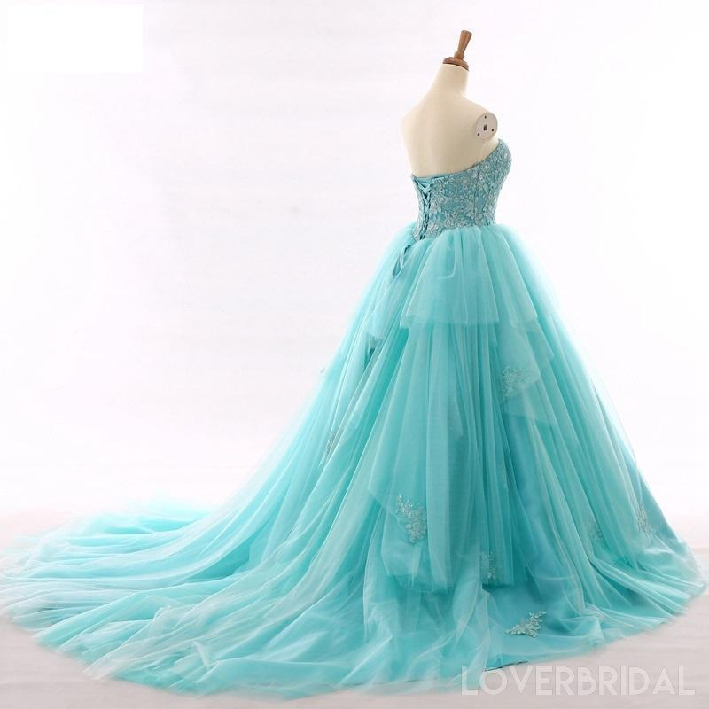 Tiffany Blue A-line Lace Cheap Long Evening Prom Dresses, Cheap Custom Sweet 16 Dresses, 18516