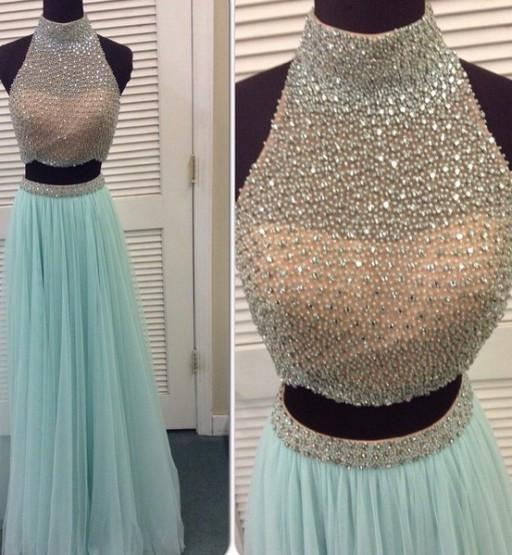 Tiffany Blue Two Pieces Tulle Evening Prom Dresses, Long Beaded Party Prom Dress, Custom Long Prom Dresses, Cheap Formal Prom Dresses, 17050