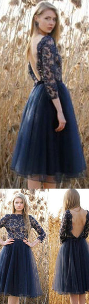 Tulle Homecoming Dress,Navy Blue Prom Dresses, Backless Homecoming Dresses, Sweet 16 Dresses, Cocktail Dresses,Junior Homecoming Dresses ,Long Sleeves Homecoming Dresses ,Graduation Dresses,PD0003