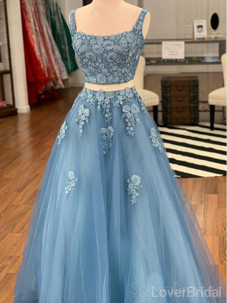 Two Piece Blue Lace Square Long Evening Prom Dresses, Cheap Party Custom Prom Dresses, 18630