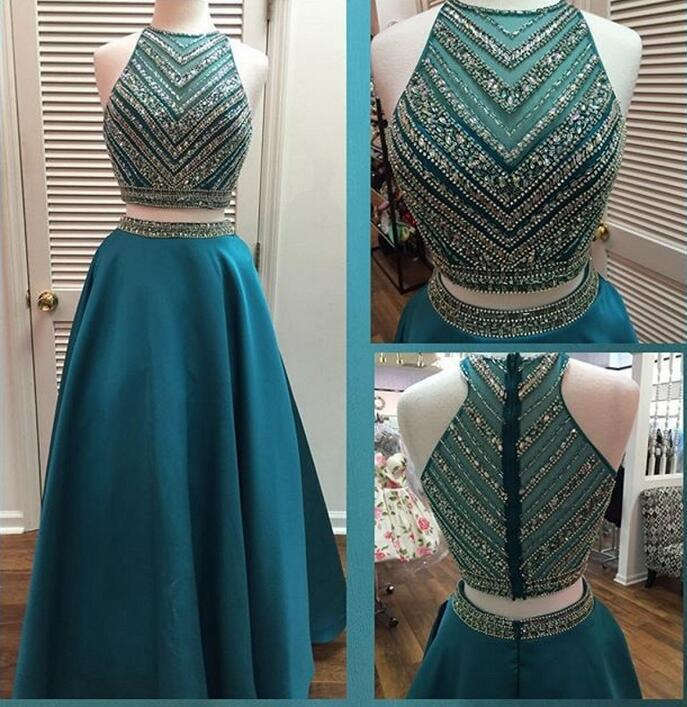 Two Pieces Beaded Unique Teal Green Long Prom Dresses, WG294