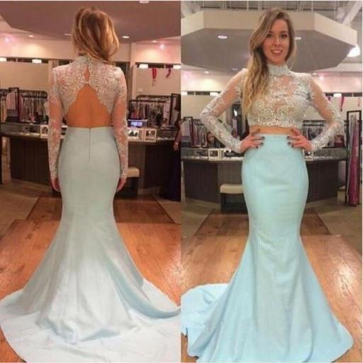 Two Pieces High Neck Long Sleeves Mermaid Blue  Long Prom Dresses, WG300